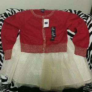 🔥NWT🔥Gap Kids Red/Gold Cardigan+Gold Cream skirt